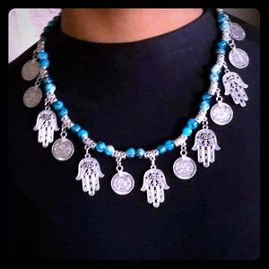 New with tag hamsa and coins necklace